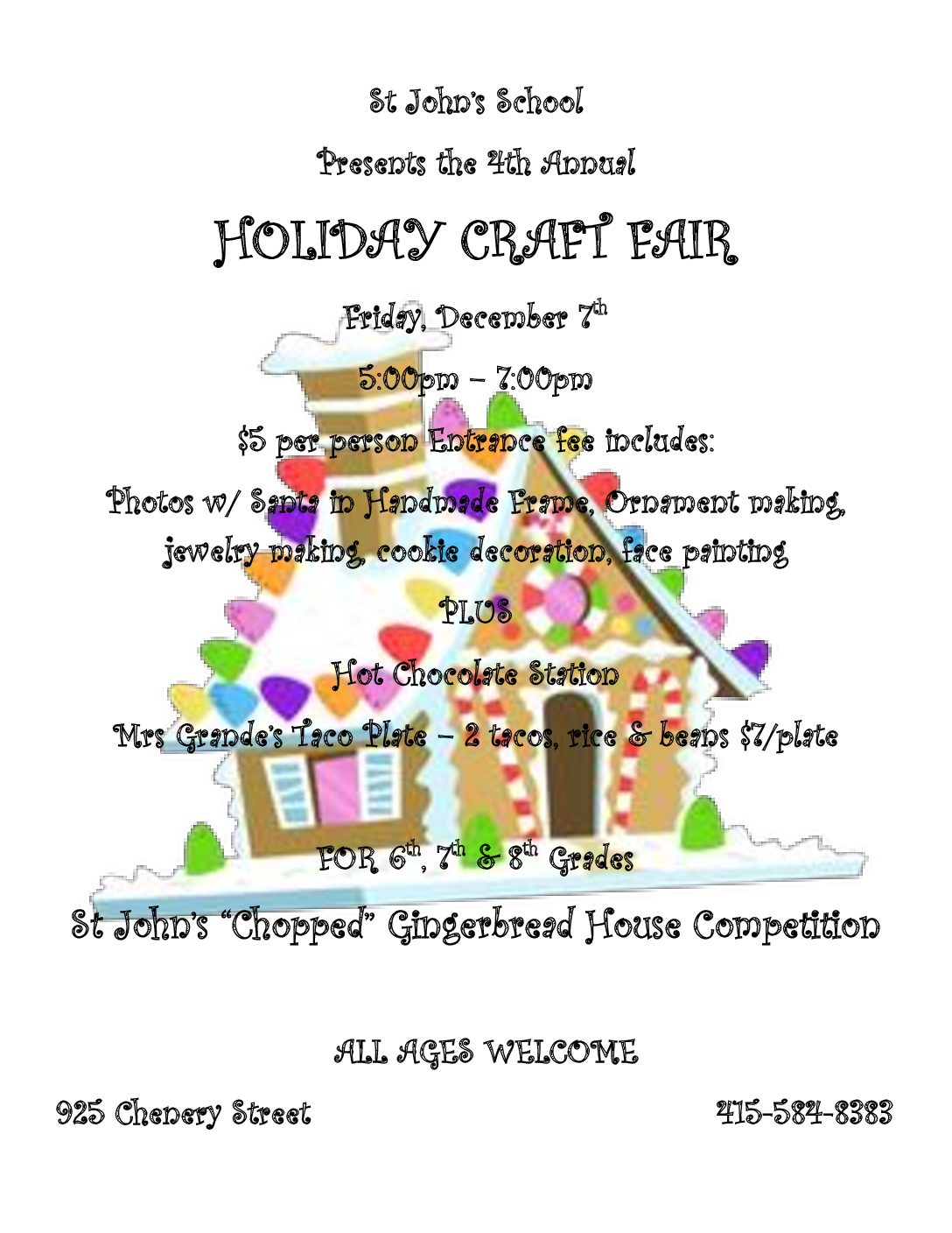 REMINDER:  HOLIDAY CRAFTS FAIR!
